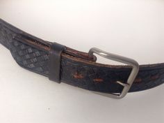 Men's Top Grain Black Leather Designed Belt Made In Mexico Sz 40 Snap On Buckle #Snapon