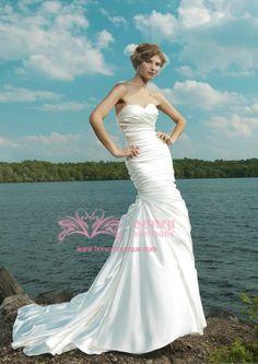 Beach Wedding Dress-Satin Sweetheart Mermaid with Layers/Flowers