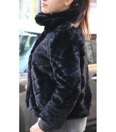 veste femme Only noir Onlnew martina fur highneck jacket otw