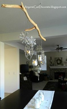 for the store??DIY Christmas Ornament and Mason Jar Chandelier