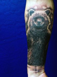 Forearm Big Bear Tattoo For Men