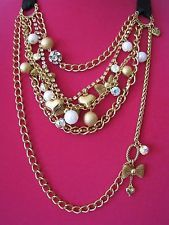 BETSEY JOHNSON MESH BOW HEART/PEARL MULTI CHAIN BLACK RIBBON CHARM NECKLACE~RARE