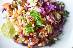 Recipe: Tri-Color Slaw with Lime Dressing — Recipes from The Kitchn (sub honey or agave for sugar and olive oil for peanut oil)