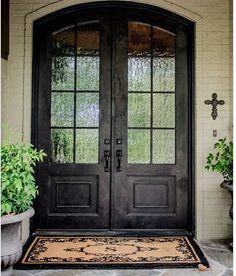 love double front door and textured glass