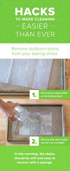 Beat baking sheet stains with this super simple two step hack. It literally works magic while you sleep! Leave it overnight and by the morning your baking sheet will look brand new. It's a must try!