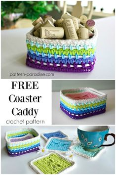 Free crochet pattern for Dragonfly coasters caddy basket by pattern-paradise.com #crochet #patternparadisecrochet #basket #caddy #dragonfly