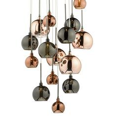 Aurelia 15 Light G4 Spiral Pendant with Copper, Dark Copper & Bronze Glass, Black Chrome Ceiling Plate