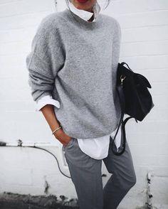 Pull cachemire gris + chemise blanche + pantalon droit : http://www.taaora.fr/blog/post/look-boyish-masculin-feminin-pull-basique-gris-chemise-blanche #outfit #look #boyish