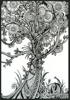 Elegance, Ink Tree Drawing by Danielle Scott Mandala Art, Mandalas Painting, Mandalas Drawing, Zentangle Drawings, Art Drawings, Mandala Tattoo, Tattoo Tree, Zentangles, Simple Christmas Tree Drawing