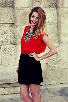 H&M Necklace, Zara Top, Stradivarius Skirt