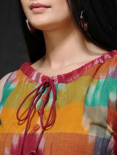 Multicolored Front Tie-Up Handloom Cotton Dress Churidhar Neck Designs, Neck Designs For Suits, Sleeves Designs For Dresses, Neckline Designs, Blouse Neck Designs, Hand Designs, Salwar Kameez Neck Designs, Churidar Designs, Kurta Neck Design