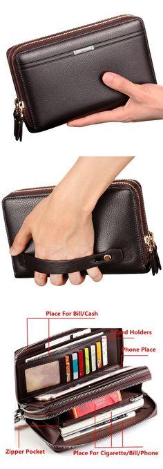 US$20.68 Big Capacity Men Wallet PU Leather 7 Card Slots Clutch Card Holder Coin Bag Phone Bag