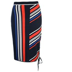 Tommy X Gigi Intarsia Skirt (570 BRL) ❤ liked on Polyvore featuring skirts, calf length skirts, elastic waist skirt, tommy hilfiger skirts, elastic waistband skirt and white knee length skirt