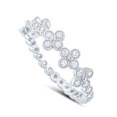 Sterling Silver Cz Stackable Cross Ring