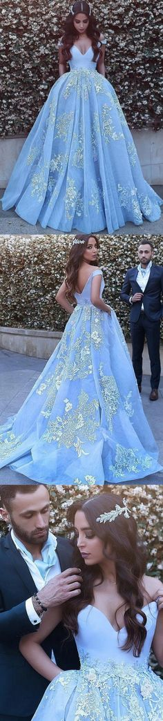 b329b47e22f4f Outlet Blue Evening Dresses, Long Evening Dresses, Long Blue Prom Dresses  With Applique Floor-length V-Neck Sale Online WF01G48-42
