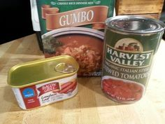 A box of gumbo rice, a can of stewed tomatoes and some bacon luncheon loaf makes a tasty, hearty dinner. Cheap Meals To Make, Food To Make, Stewed Tomatoes, 30 Minute Meals, Gumbo, Dollar Tree, Easy Dinner Recipes, Bacon, Low Carb