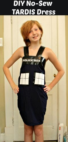 $5 (or less!!) DIY Tardis Costume From Dr. Who (No-Sew) - Super easy, cutest tutorial ever - from an 11 year old!