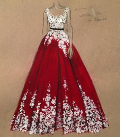 Beautiful Dress Drawings by Dubai Fashion Designer, 3Alya                                                                                                                                                     More