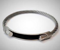 Bracelet  TITANIO GRADO 2 , CABLE DE ACERO  6.0 x 0.6cm  Titanium grade 2 Steel wire