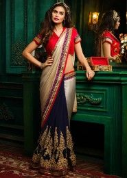Wedding Wear Multi Colour Satin Embroidered Work Saree