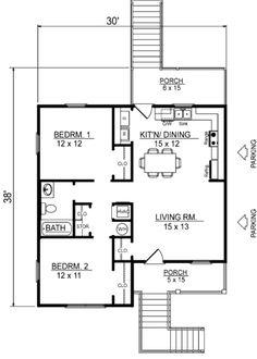 Beach Style House Plan - 2 Beds 1 Baths 856 Sq/Ft Plan #14-240 Floor Plan - Main Floor Plan - Houseplans.com