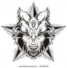 Black and white tattoo of a wolf head with star. Vector illustration