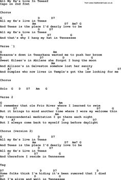George Strait song: All My Ex's Live In Texas2, lyrics and chords