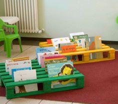 Leuke manier om boeken uit de (klas)bib in de kijker te zetten! Zou ook leuk zijn om de pallet aan de muur te bevestigen!