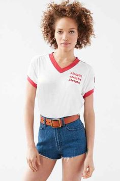 Camp Collection Alright V-Neck Ringer Tee - Urban Outfitters