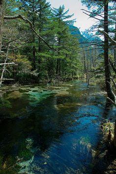 Azusa River flows through Kamikochi, Nagano, Japan