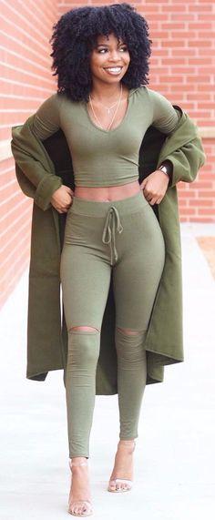 #winter #fashion /  Army Top & Pants & Coat