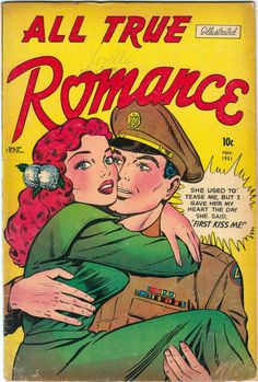 "I love a man in a uniform! All stories written/drawn by a studio headed by Jerry Iger, a comics publisher who went into partnership with Will Eisner (""The Spirit""). They split in and Iger continued to be a producer of comics until Vintage Comic Books, Vintage Comics, Comic Books Art, Book Art, Comic Art, Best Book Reviews, Paris Poster, Romance Comics, Cartoon Books"