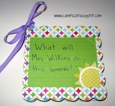 End of Year Teacher Gifts, gift cards for each page, read a book, eat ice cream, etc.