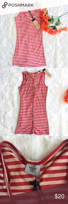 SO NICE   Striped Tank Red and tan striped mesh tank with a braided line going down the back. so nice Tops Tank Tops