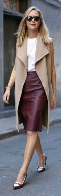 burgundy leather skirt outfit - Buscar con Google