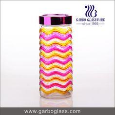 High quality 2200ml colorful spray storage jar glass with plastic lid