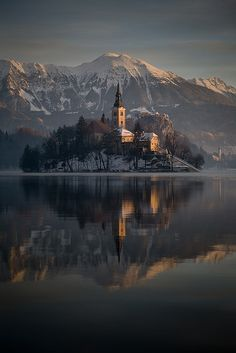 Winter sunrise at Lake Bled, Slovenia, Assumption of Mary Pilgrimage Church
