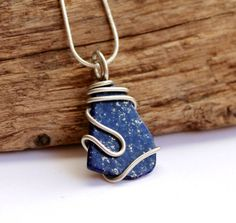 Lapis Necklace Wire Wrapped Stone Pendant by MermaidTearsDesigns, $28.00