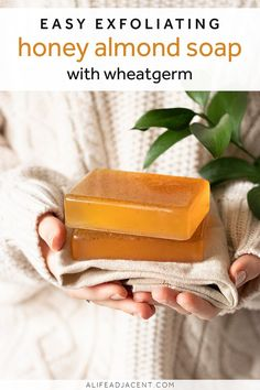 DIY Honey Almond Soap with Wheatgerm - Learn to make a simple honey almond scented soap recipe! Made with melt and pour soap base, this ea - Natural Beauty Recipes, Natural Recipe, Melt And Pour, Honey Almonds, Honey Soap, Homemade Soap Recipes, Diy Skin Care, Soap Making, Real Honey
