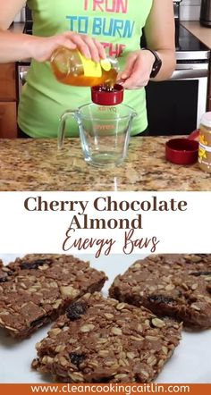 An energy bar for around or during your long or intense endurance workouts, or a meal replacement! | dried cherry and almond energy bars | chocolate cherry energy bars | almond cherry energy bars | homemade energy bars | healthy energy bars #chocolatecherryenergybars #energybarsrecipe