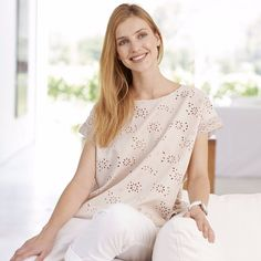 New Ex The White Company Cutwork Cotton T-Shirt Top Rose Beige Pink Sizes 6-16