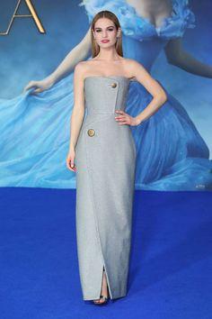 Lily James in Balenciaga, London premiere for Cinderella2015