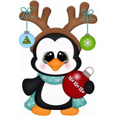 Silhouette Design Store - View Design #70302: penguin w antlers pnc