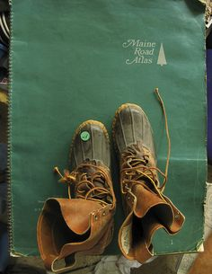 Bean Boots and Maine Road Atlas Maine, Ll Bean Boots, Thing 1, Duck Boots, New England, Hiking Boots, Travel Boots, Old Things, Manly Things