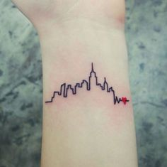 What does chicago skyline tattoo mean? We have chicago skyline tattoo ideas, designs, symbolism and we explain the meaning behind the tattoo. New York Tattoo, Nyc Tattoo, City Tattoo, Tattoo On, Tiny Wrist Tattoos, Cute Tiny Tattoos, Small Tattoos, Cool Tattoos, Tasteful Tattoos