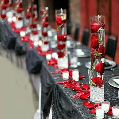 60 Great Unique Wedding Centerpiece Ideas Like No Other red rose wedding centerpieces Red Rose Wedding, Wedding Colors, Wedding Flowers, Black Red Wedding, Crimson Wedding Ideas, Green Wedding, Unique Wedding Centerpieces, Table Centerpieces, Red And White Wedding Decorations