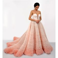 Ombre wedding dress in pink, Long and sexy wedding dress with corset,... (6.070 BRL) ❤ liked on Polyvore featuring dresses and wedding dresses