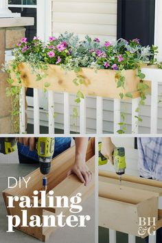 How to Build a Railing Planter to Showcase Your Favorite Flowers - - You'll love this customizable front porch feature. Over Railing Planters, Railing Planter Boxes, Patio Railing, Balcony Planters, Diy Planter Box, Balcony Garden, Pergola, Railing Flower Boxes, Balcony Flower Box