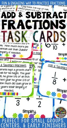 Use these task cards with your students to practice and review adding and subtracting fractions.  Comes with a game board and recording sheet!  Perfect for small groups, stations, and early finishers to add and subtract fractions.