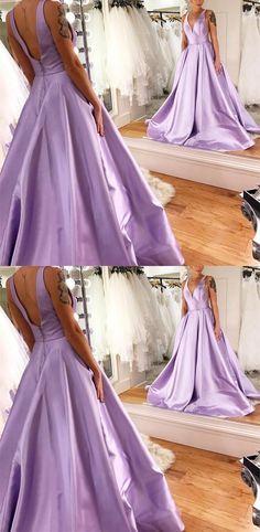 2018 long prom dress, lavender prom dress, simply v neck lavender long prom dress with pockets